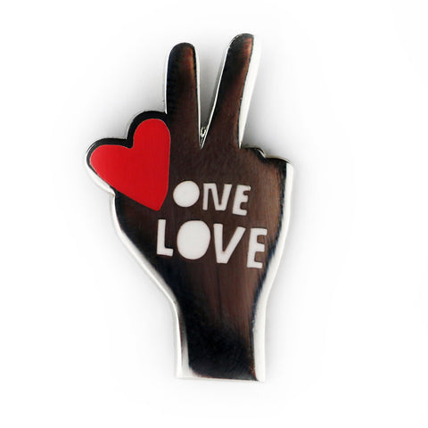 One Love Peace Hands Enamel Pin