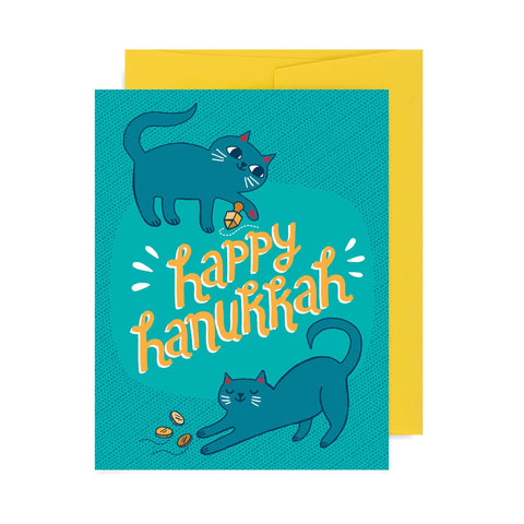 Happy Hanukkah Cats A2 Card