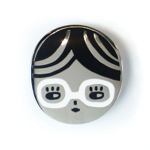 Glasses Chick Enamel Pin