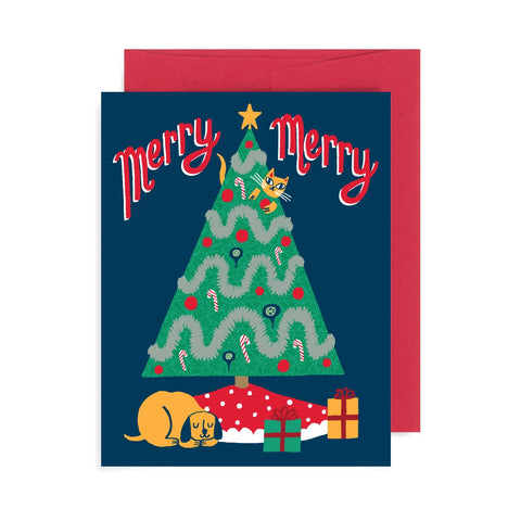 Merry Merry Cat and Dog A2 Card