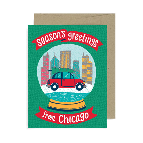 Snow Globe Chicago A2 Card