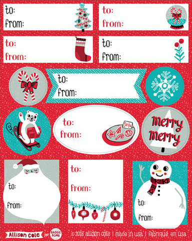 Red Holiday Gift Label Stickers