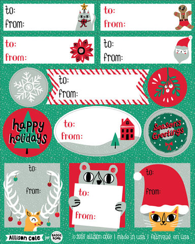 Green Holiday Gift Label Stickers