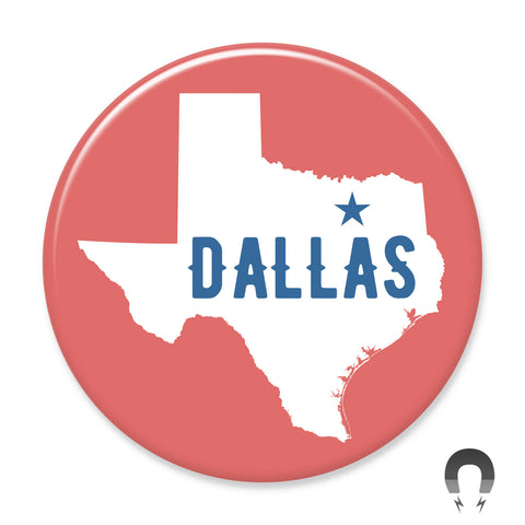 Dallas Map Red Big Magnet