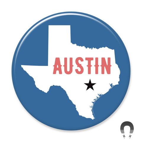 Austin Map Blue Big Magnet