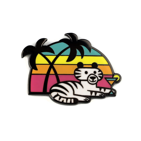 Cocktail Tiger Enamel Pin