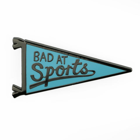 Bad At Sports Blue Pennant Pin