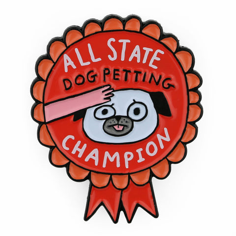 Dog Petting Champion Enamel Pin