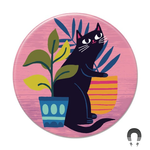 Black Cat With Plants Big Magnet