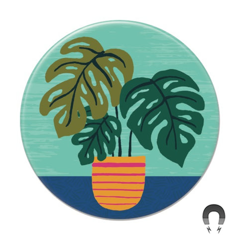 Monstera on Teal Big Magnet