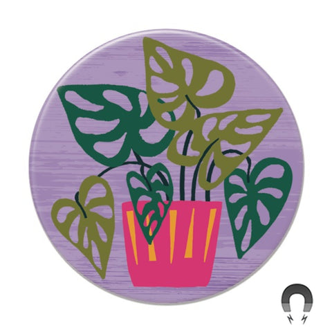 Monstera on Purple Big Magnet