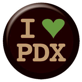 I Heart PDX Black and Green 1 inch Button
