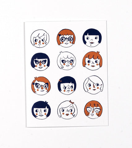 Girls Heads Greeting Card by Tuesday Bassen