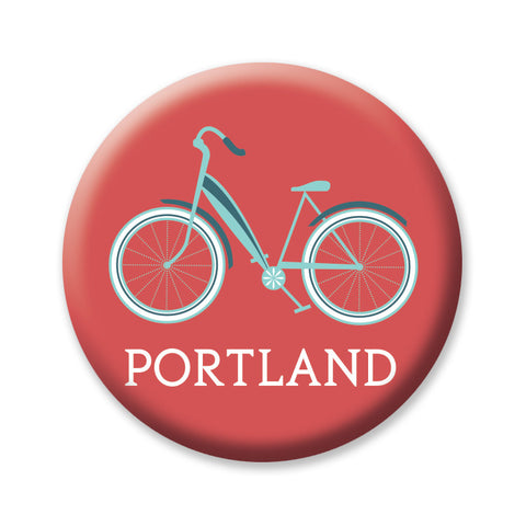 "Red Bike Cruiser Portland Oregon 1"" Button"