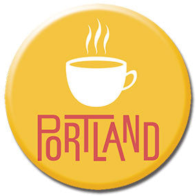 "Portland Coffee 1"" button by Badge Bomb"