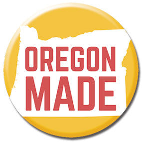 "Oregon Made 1"" button by Badge Bomb"
