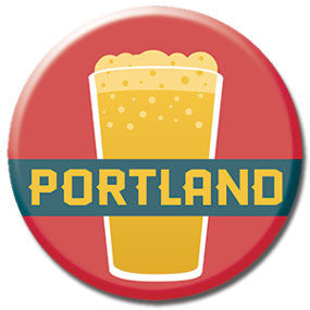 "Portland, Oregon Pint of Beer 1"" button by Badge Bomb"