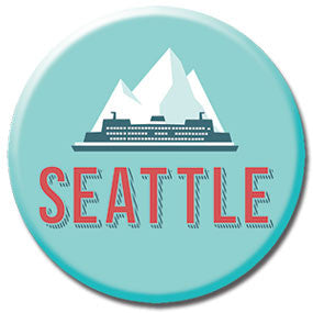 "Seattle Ferry with Mountains 1"" Button by Badge Bomb"