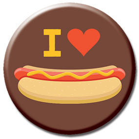 "I Heart Hot Dogs 1"" Button by Hey Darlin'"