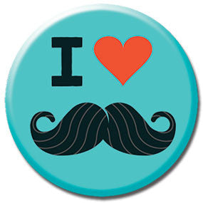"I Heart Mustaches 1"" Button by Hey Darlin'"