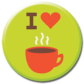 "I Heart Coffee 1"" Button by Hey Darlin'"