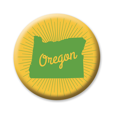 "Green and Gold Sunburst Oregon State 1"" button by Badge Bomb"