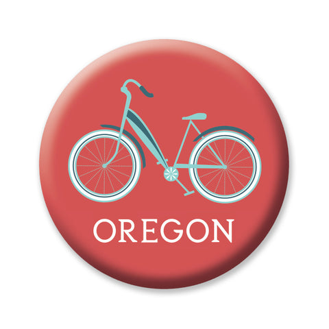 "Red Cruiser Oregon 1"" button by Badge Bomb"