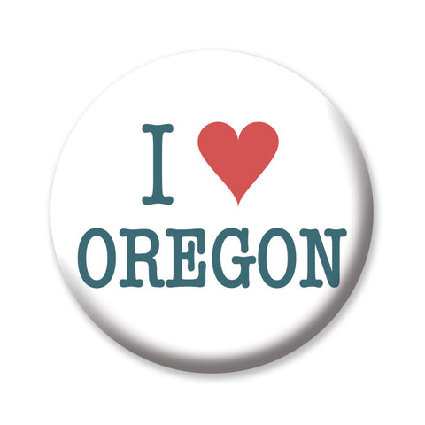 "I Heart Oregon (White) 1"" button by Badge Bomb"