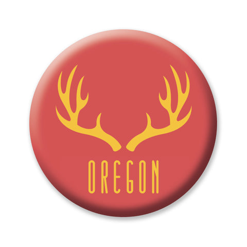 "Red Antlers Oregon 1"" button by Badge Bomb"