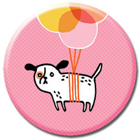 "Balloon Puppy 1"" Button by Gemma Correll"