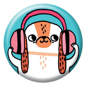 Gemma Correll Headphone Hound 1 inch Button
