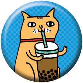 Gemma Correll Bubble Tea Kitty 1 inch Button