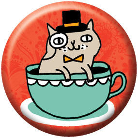 Gemma Correll Tea Cup Cat 1 inch Button