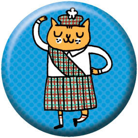 Gemma Correll Scottish Kitty 1 inch Button