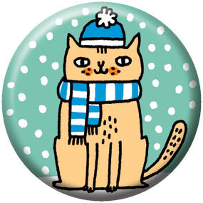 Gemma Correll Snow Cat 1 inch Button