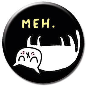 "Meh.  Cat 1"" Button by Gemma Correll"