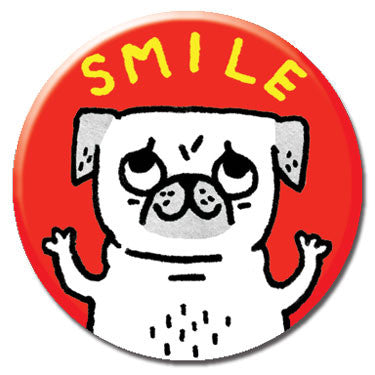 "Smile Pug 1.25"" Button by Gemma Correll"