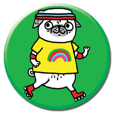 "Rollerblade Pug 1.25"" Button by Gemma Correll"