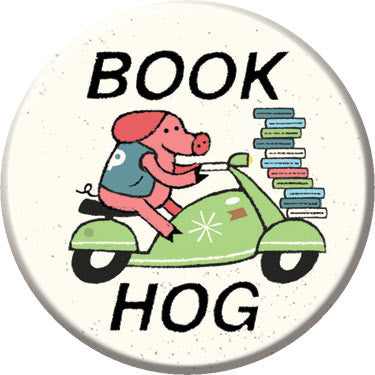 Book Hog Button. Buttons by Greg Pizzoli.