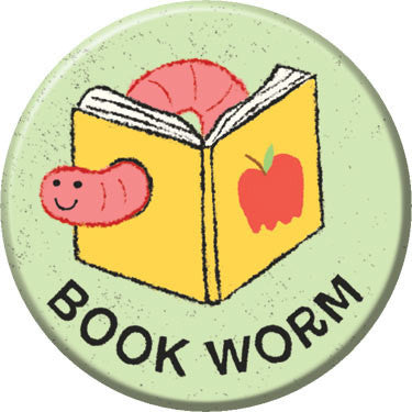 Book Worm Button. Buttons by Greg Pizzoli.