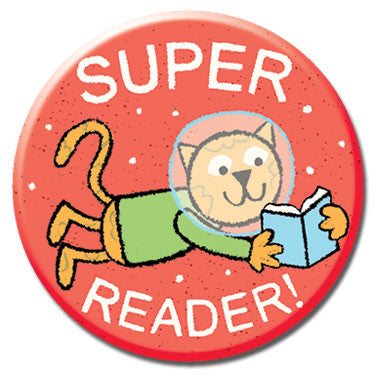 "Super Reader 1.25"" Button by Greg Pizzoli"