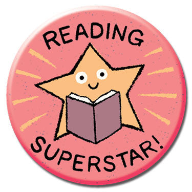 "Reading Superstar 1.25"" Button by Greg Pizzoli"