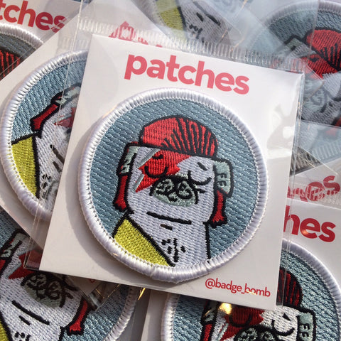 Bowie Pug Iron-On Patch by Gemma Correll