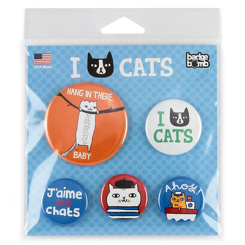 Gemma Correll Cats 5 Button Pack from Badge Bomb