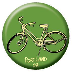 Portland Green Bike 1 inch Button