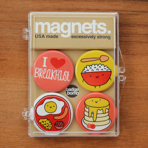 Badge Bomb Breakfast themed magnets by Gemma Correll