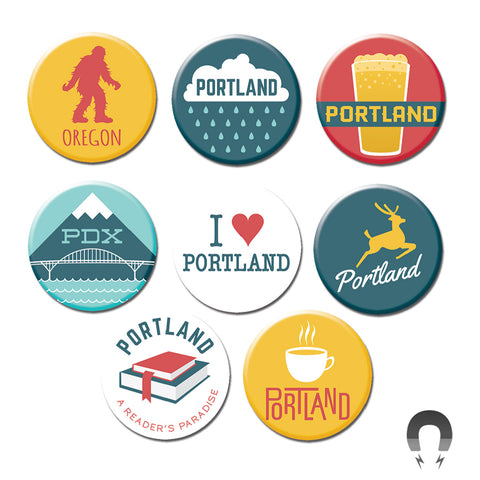 Portland Oregon Modern Big Magnets Bundle