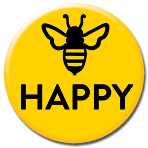 "Bee Happy Yellow 1"" Button by Seltzer Goods"