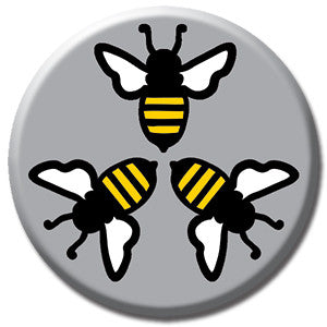 "Three Bees 1"" Button by Seltzer Goods"