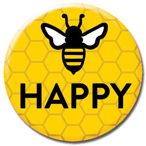 "Bee Happy Honeycomb 1"" Button by Seltzer Goods"